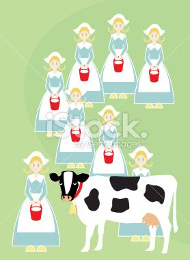 Vector illustration of the Eighth Day of Christmas. Milking maids.