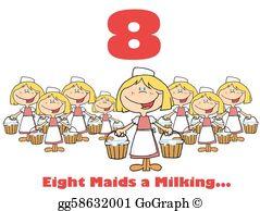Eight Maids A Milking Clip Art.