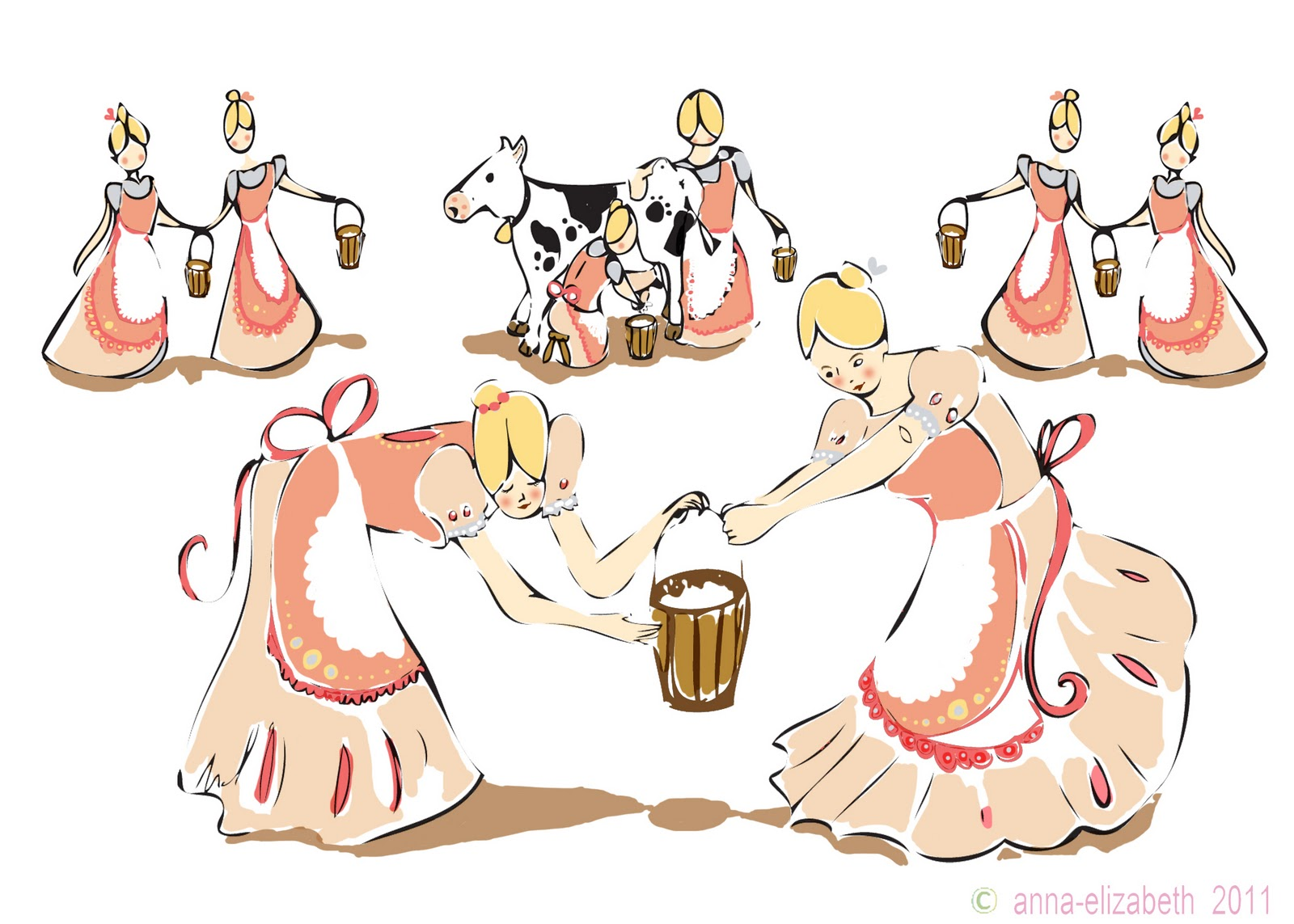 8 Maids A Milking Clipart.