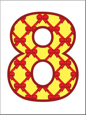 Clip Art: Number Set 8: Presents 08 Color I abcteach.com.