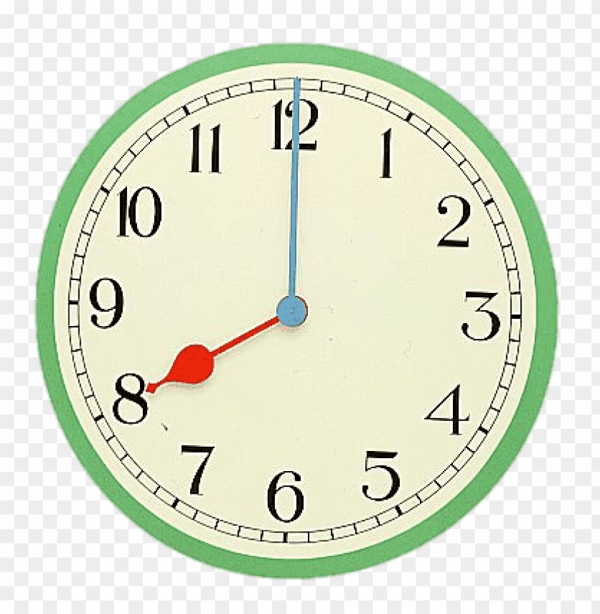 eight o\'clock coloured clock PNG image with transparent.