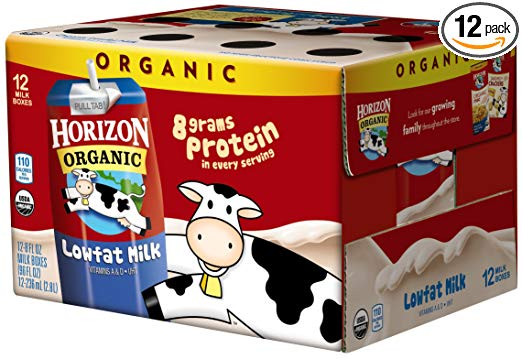 Horizon Organic Low Fat Milk, Plain, 8 Ounce (Pack of 12), Single Serve,  Shelf Stable Organic Lowfat Milk, Great for School Lunch Boxes Snacks or.
