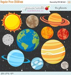 Planets Clip Art Collection for Personal and Commercial Use.