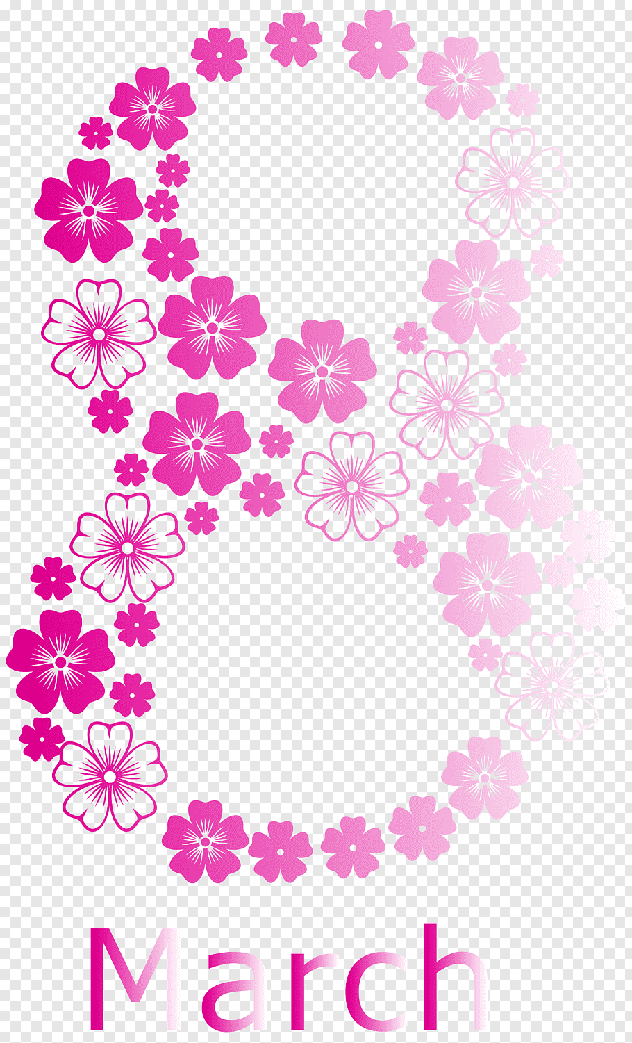 Pink petaled flowers illustration with March text overlay.