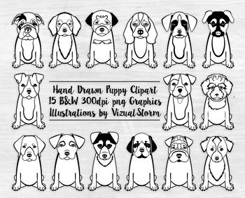 Black and White Puppy Clipart.