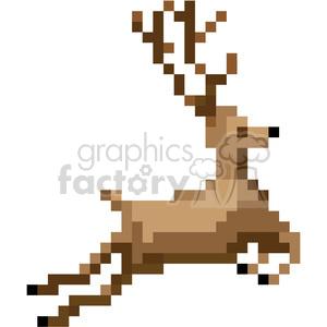 8bit christmas reindeer vector art clipart. Royalty.