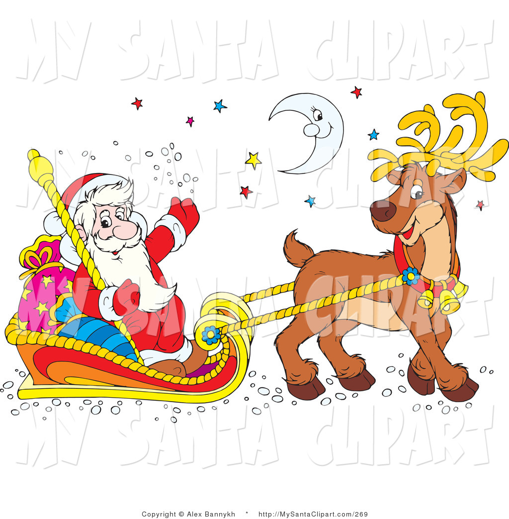 Santa claus with reindeer clipart 8 » Clipart Station.