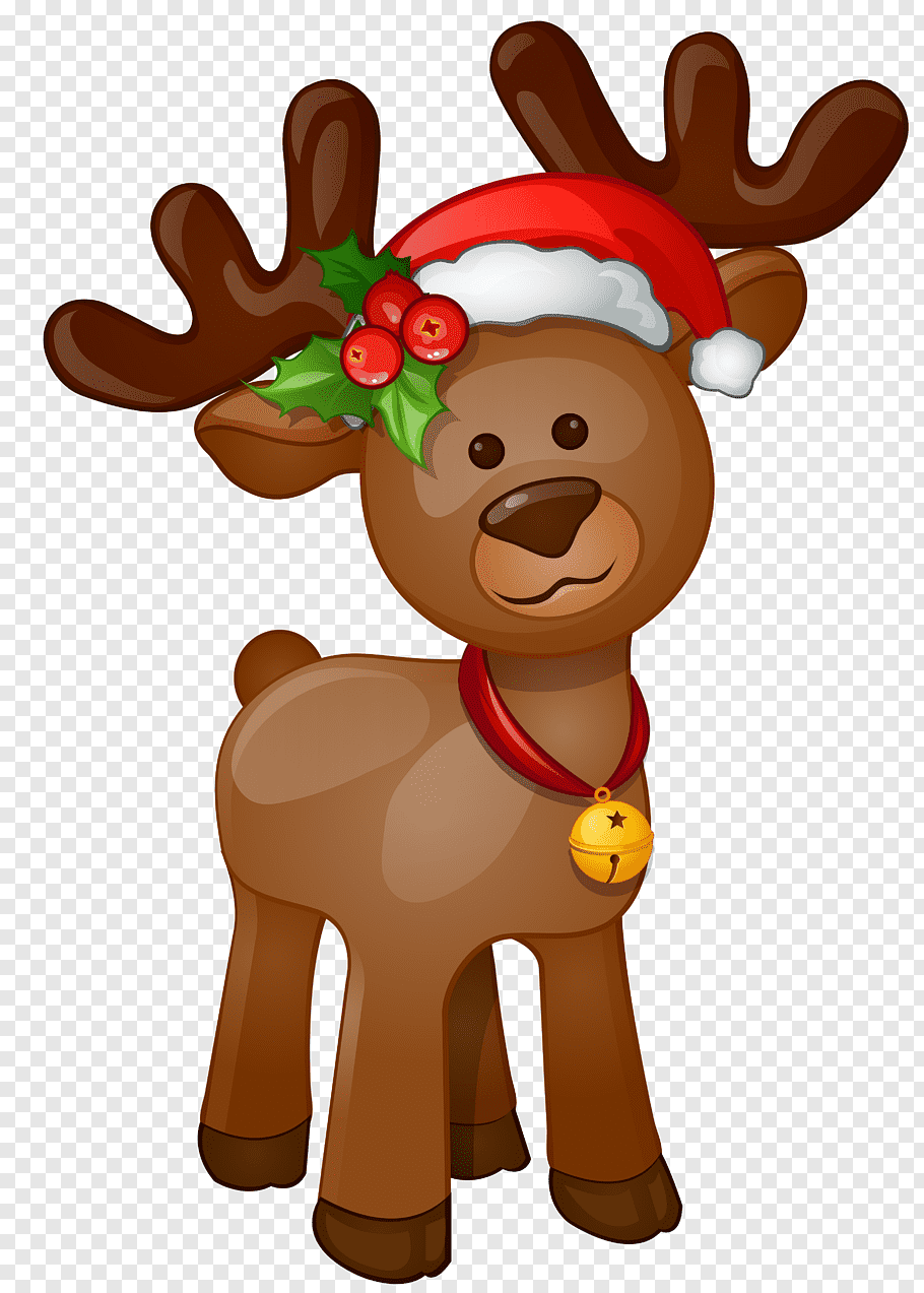 Reindeer illustration, Rudolph Santa Claus Christmas.