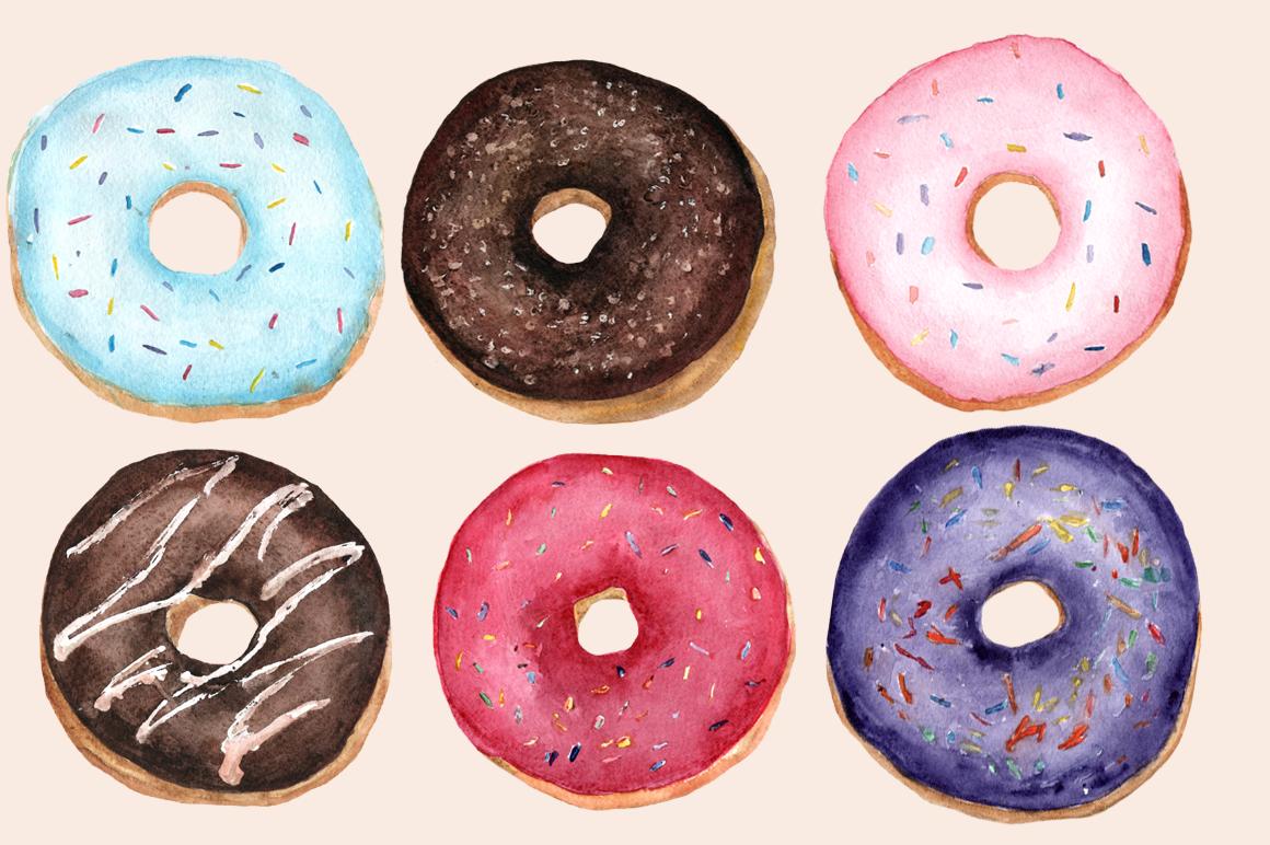 Watercolor Donuts Clip Art Set by Tati Bordiu on.