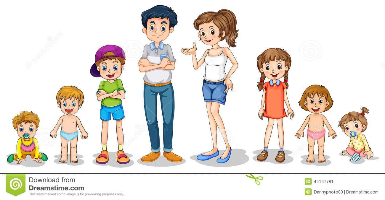5 Member Family Clipart.