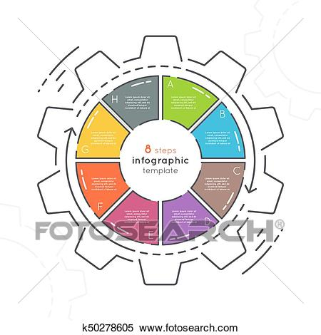Gear shaped flat style infographic template with 8 steps.