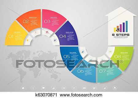 8 steps of arrow infografics template. for your presentation.