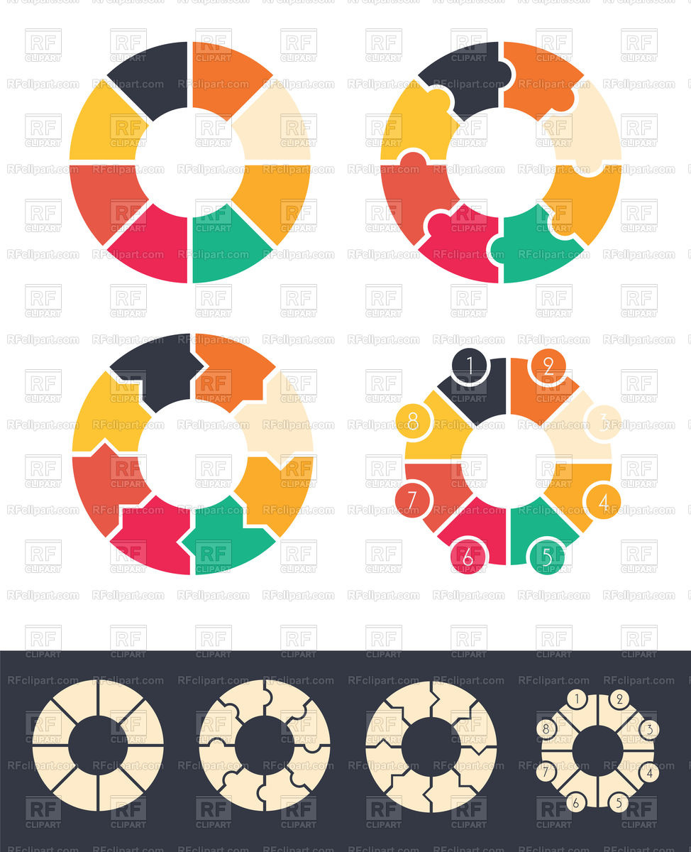 8 steps cycles circles for infographic set Stock Vector Image.