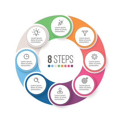 Circular infographics. Business diagram with 8 steps.