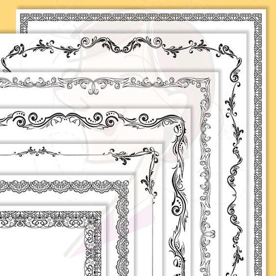Decorative Page Borders 8 x 11 Nostalgia Antique Leaf Digital.