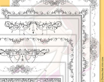 Whimsy Page Border Frames Digital Doodles by MayPLDigitalArt.