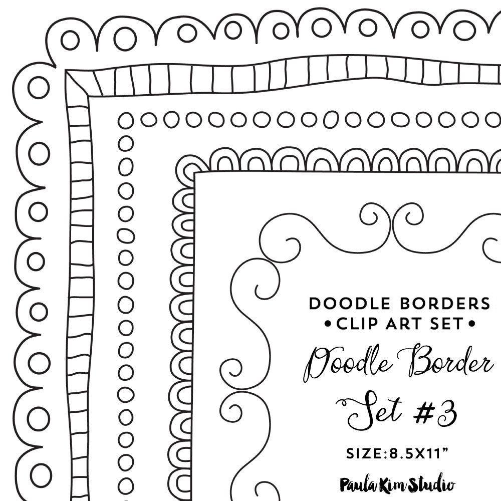 Doodle Border Clipart 8.5x11 Frame Clip Art Instant.