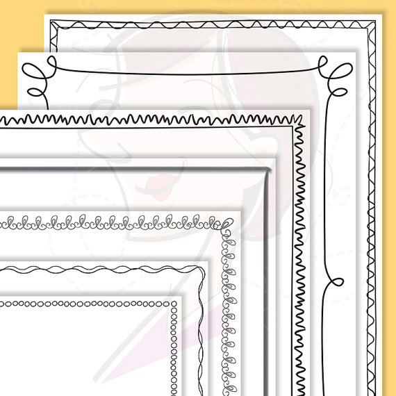 Whimsy Page Border Frames Digital Doodles Clipart 8 x 11 Whimsical.