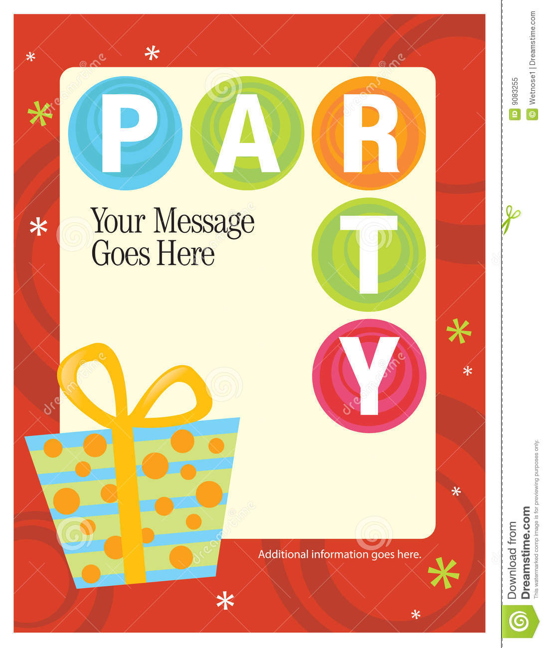 8.5x11 Party Flyer/Poster Template Stock Vector.