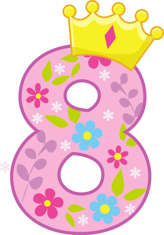 number 8 with princess crown clipart #9.