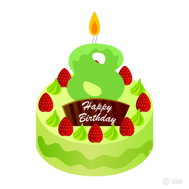 Free 8 Years Old Candle Birthday Cake Clipart Image|Illustoon.