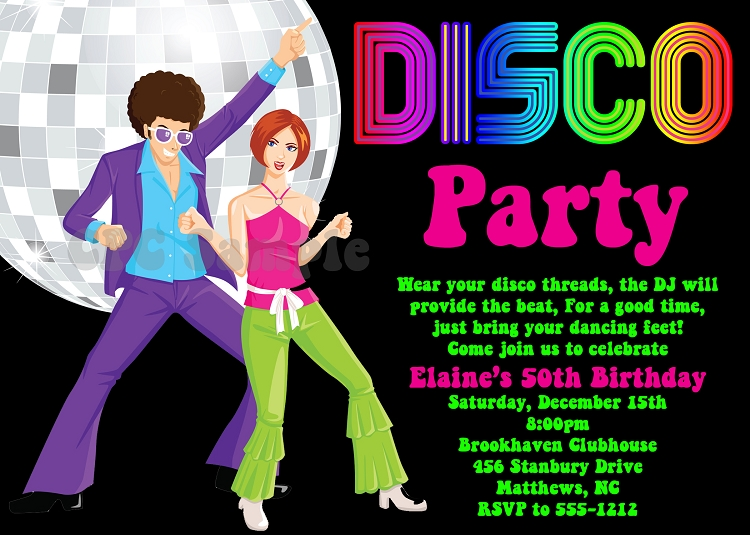 70\'s Disco Dance Party Birthday Invitations.