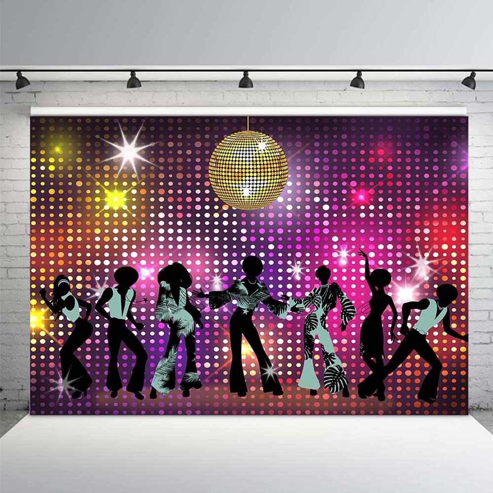 Vinyl Photography Backgrounds 80\'s 90\'s Dance Disco Party.