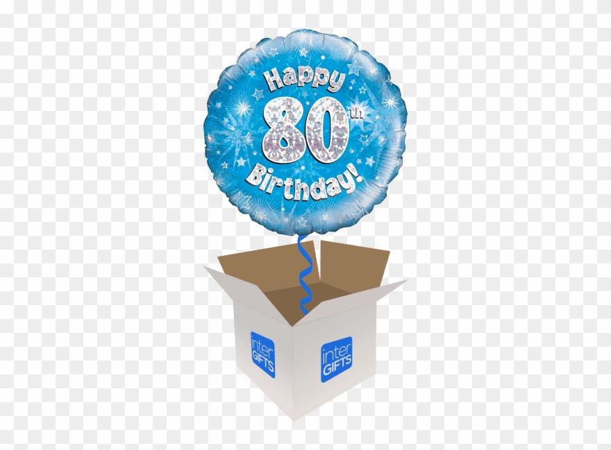 Happy 80th Birthday Blue Holographic.