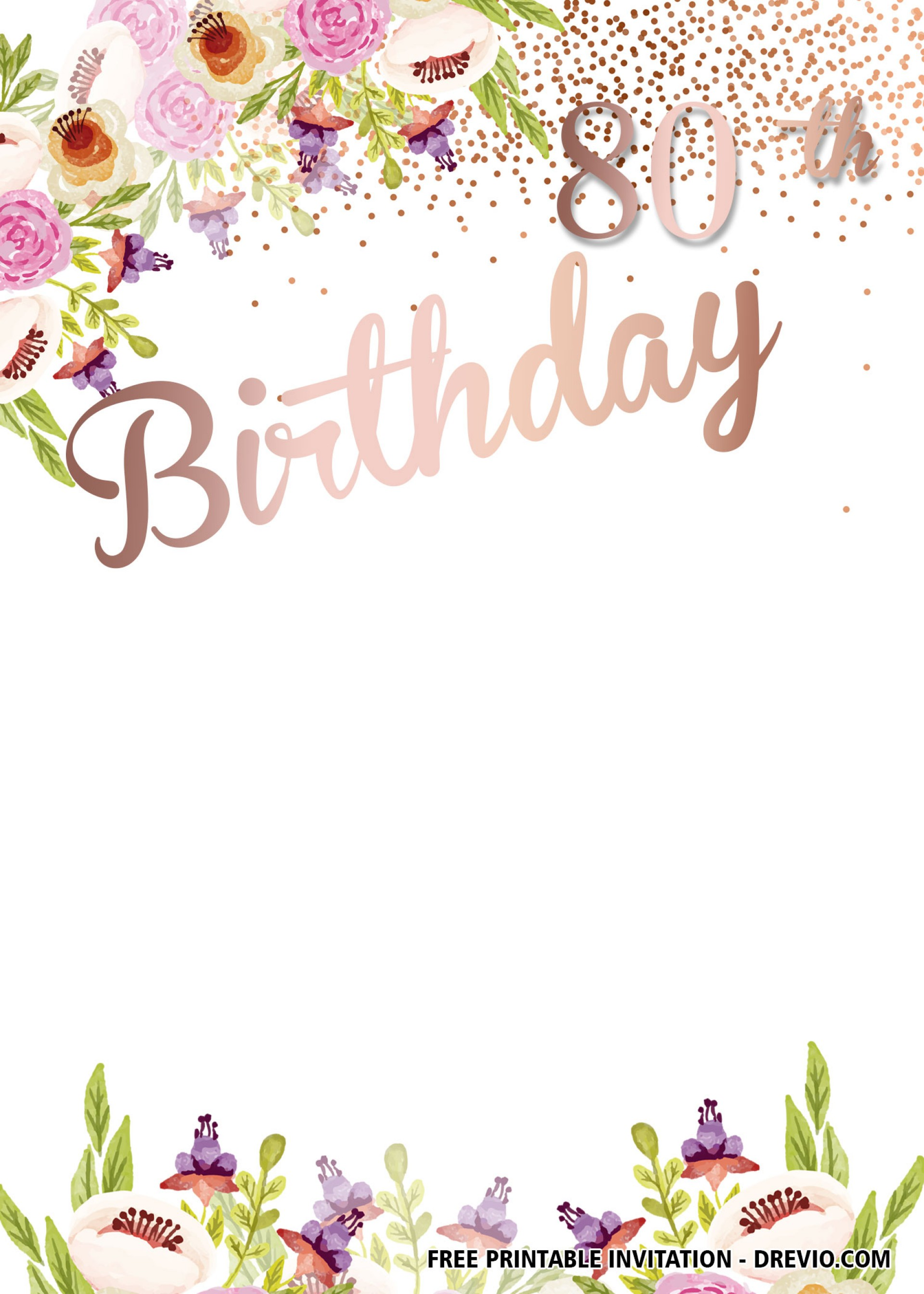 007 Template Ideas 80th Birthday Invitations Templates.