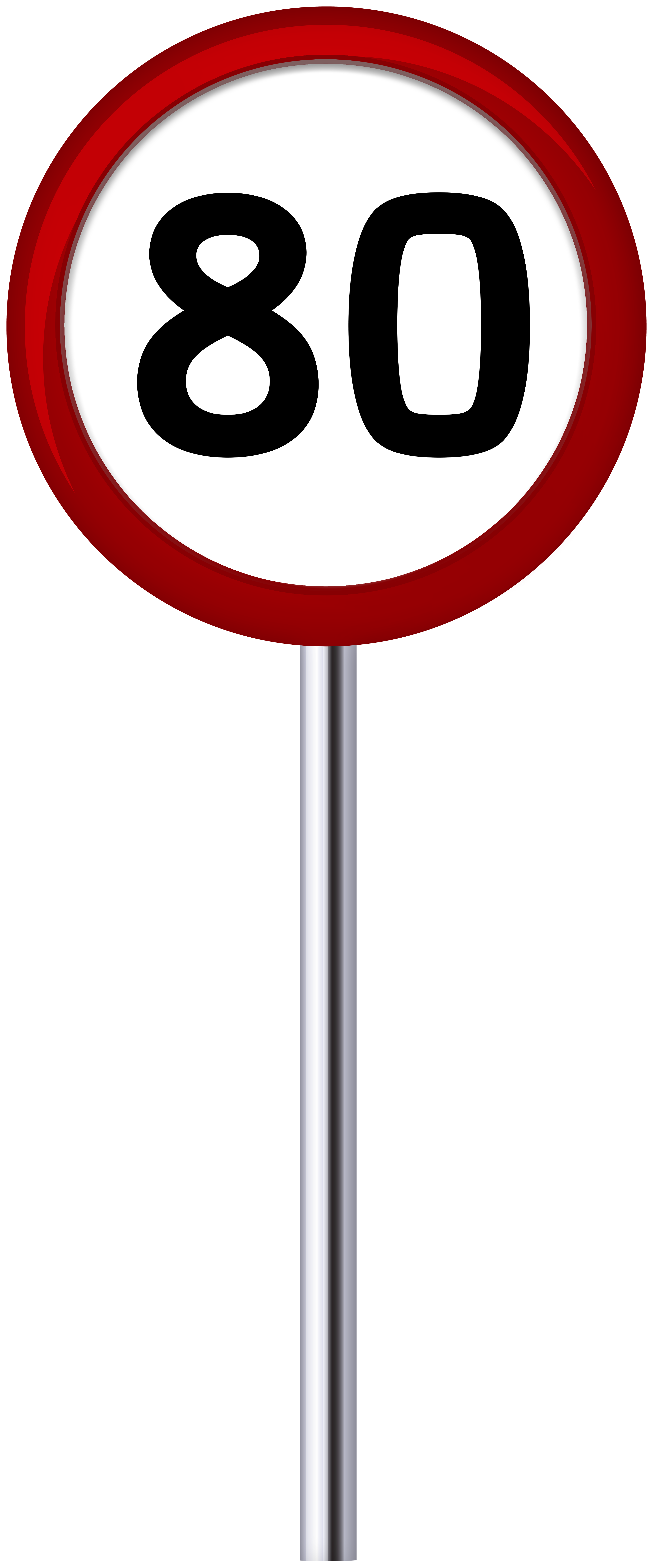 Traffic Sign Speed Limit 80 PNG Clip Art.