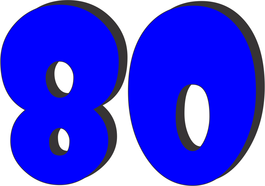 Download Free png Clipart of Number 80.