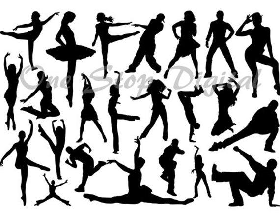Dancers Silhouettes Clip Art, Ballet Dancer Clip Art, Ballerina Silhouettes  Clipart, Break Dancing Silhouettes Dancer Printables 0277.
