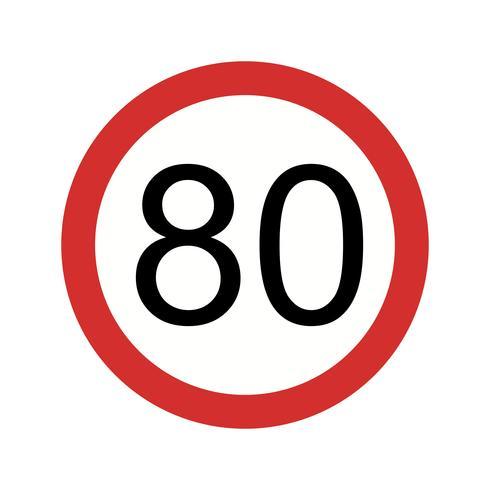 Vector Speed limit 80 Icon.
