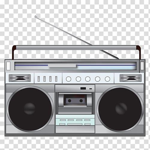 Gray boombox illustration, Radio 80s Illustration.