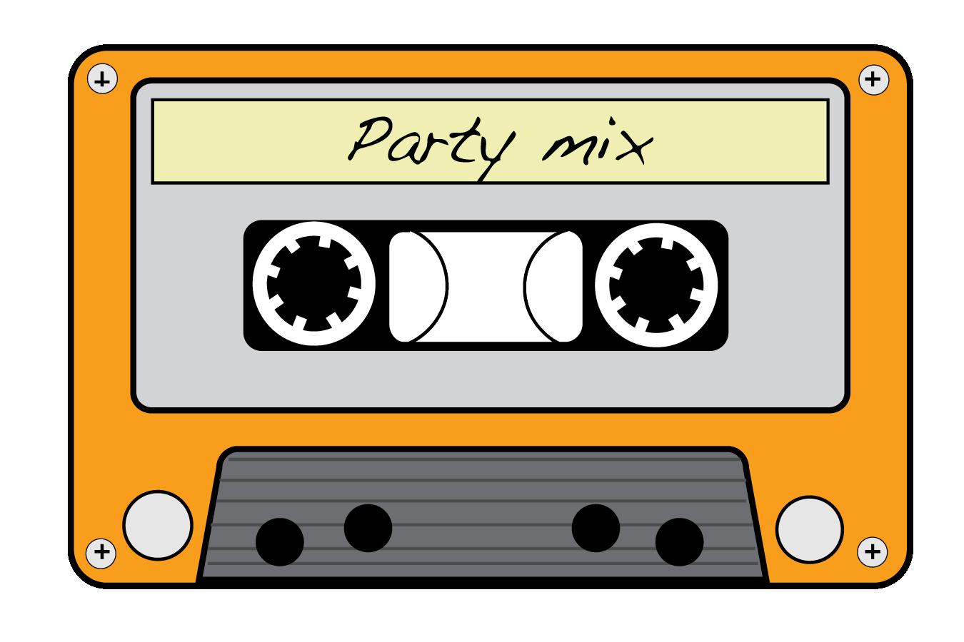 neon 80s cassette tapes clipart.