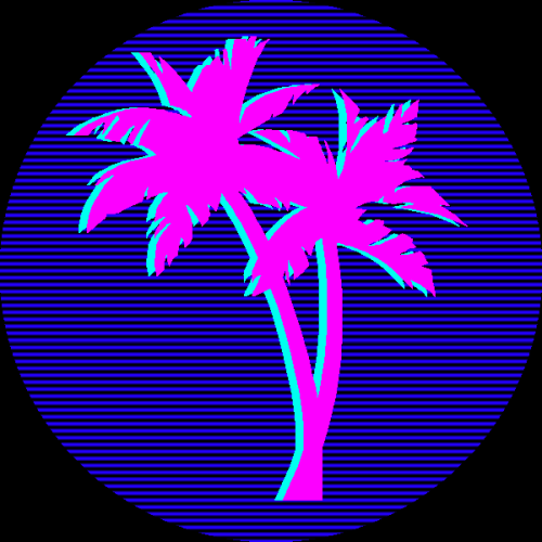 retro 80s palm trees miami Pink and Blue hotknife.