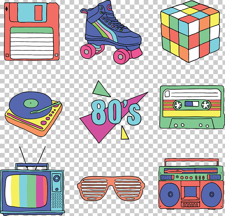 Adobe Illustrator , 80s retro, assorted.