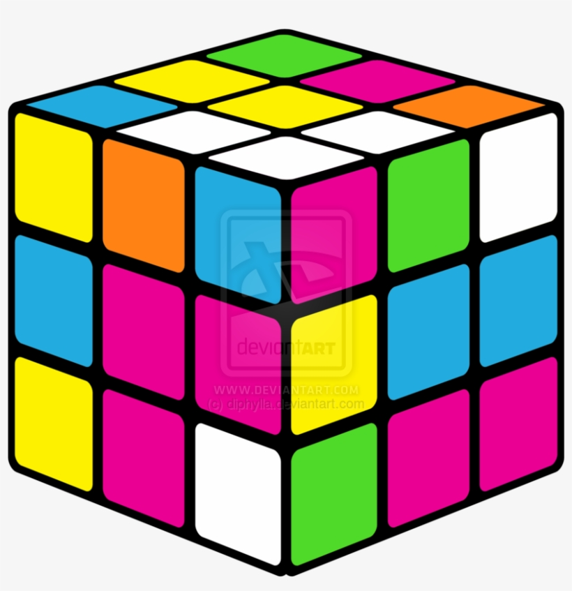 Neon Rubiks Cube Clipart.