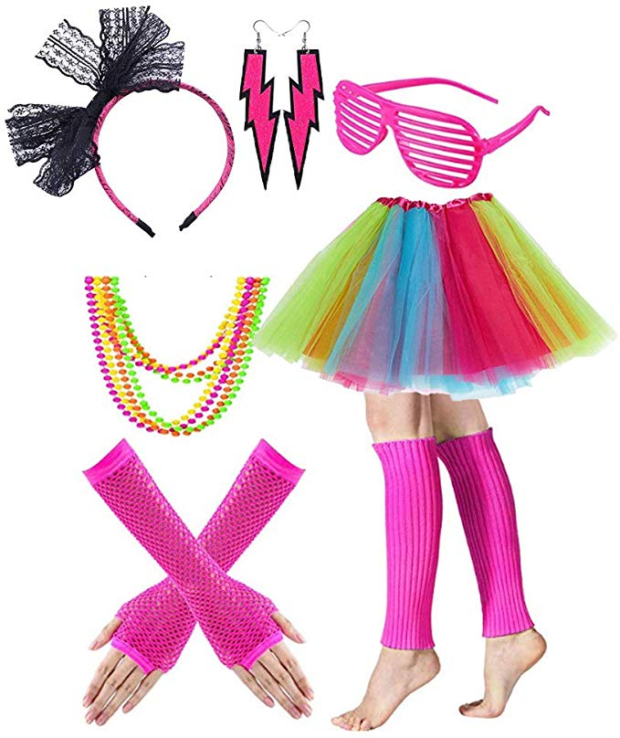 Gywantt 80s Costumes for Women, 80s Accessories Set Adult Tutu Skirt Leg  Warmers Fishnet Gloves Earrings Necklace Shutter Glass Lace Hairband for  80s.