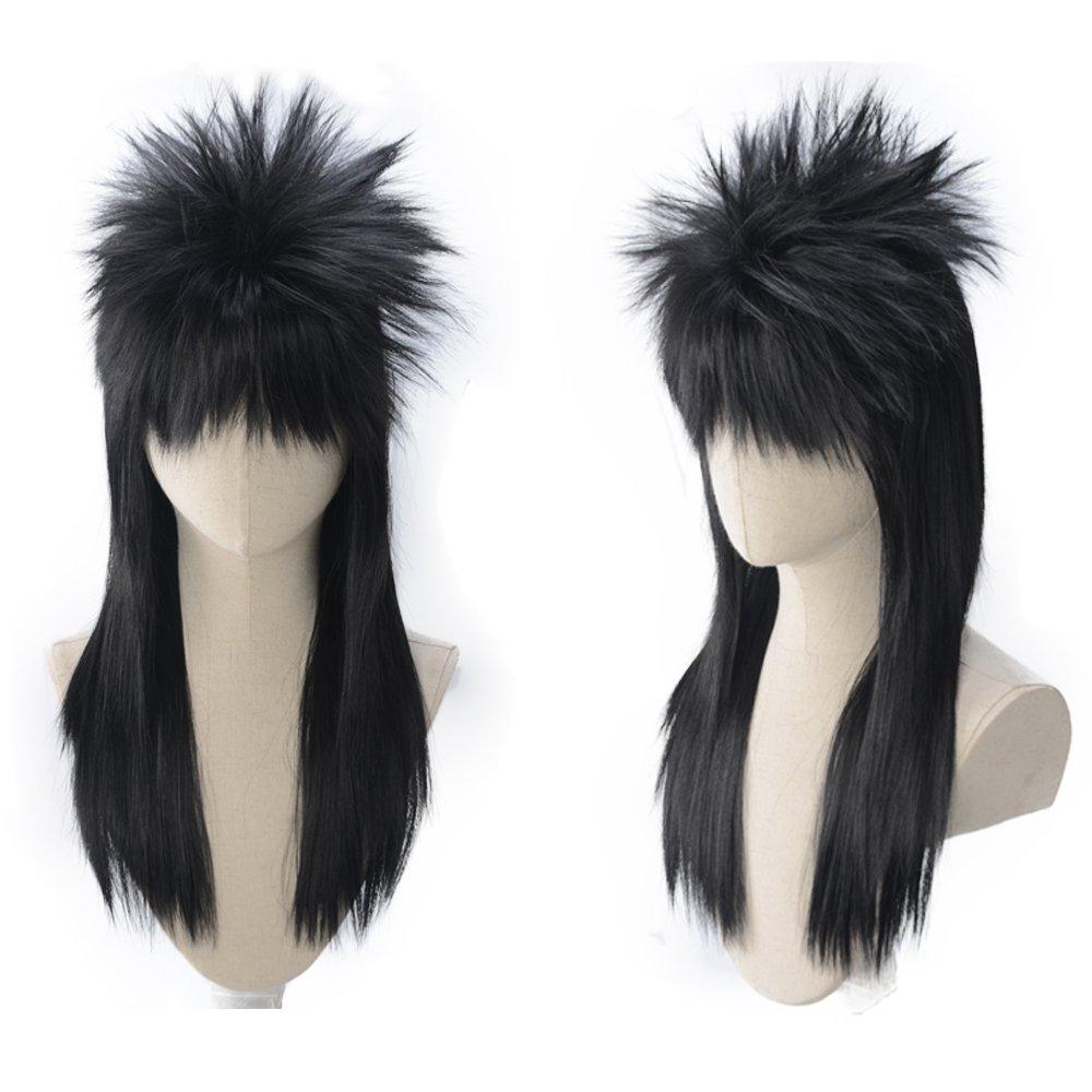 Amazon.com : magic acgn Black Straight 70s 80s Wig Halloween.