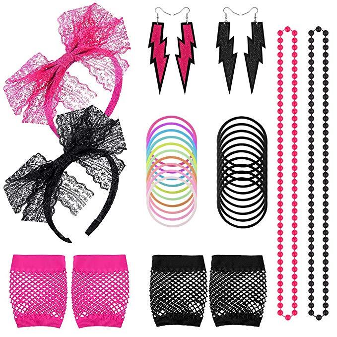 Fishnet Gloves Lace Headband Earrings Necklace Bracelet for.