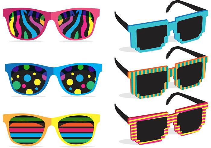 Colorful 80\'s Sunglasses Vectors.