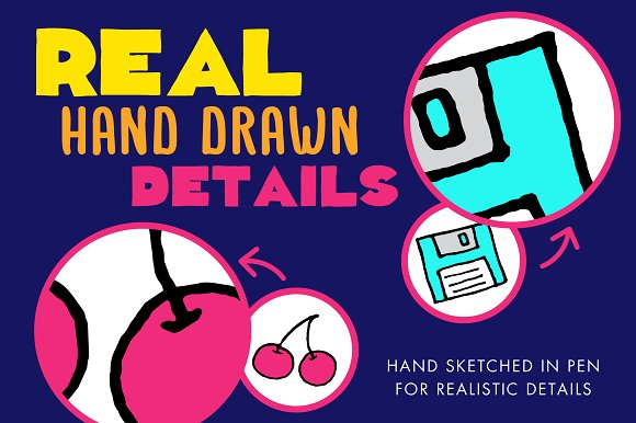 80s & 90s Clipart Illustrations.