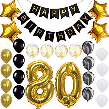Happy 80th Birthday Banner Balloons Set for 80 Years Old Birthday Party  Decoration Supplies Gold Black.