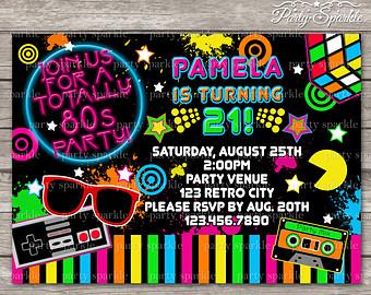 80s party invitation.