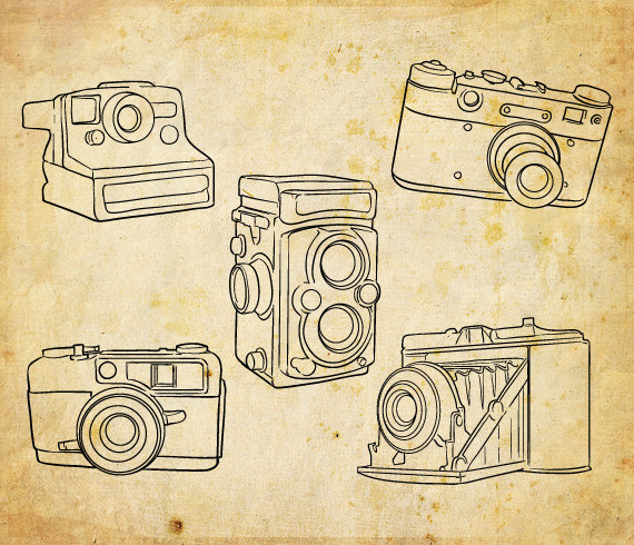 Hand drawn set of 5 outlined cameras including polaroid and.