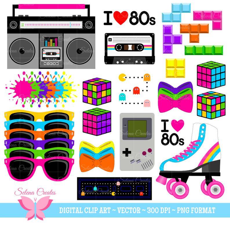 80s Clipart Set, Digital Clipart, Clip Art, 1980s Set, Vector, PNG Format.