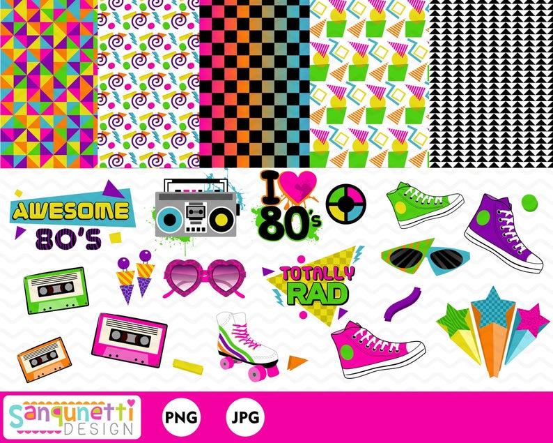 80s Clipart, eighties clip art, 80s Party, retro digital graphics instant  download.