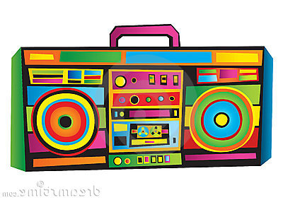 80 S Boombox Clipart.
