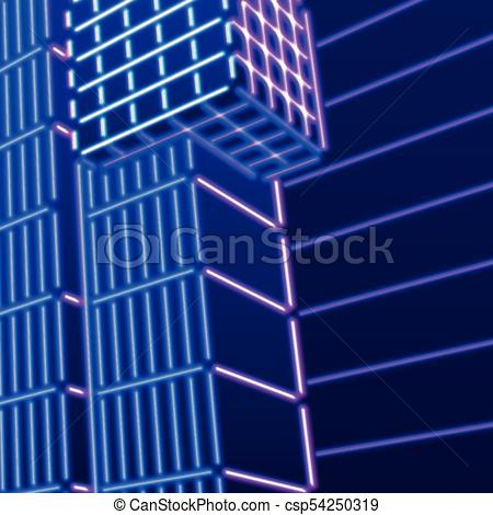 Neon background with ultraviolet 80s grid landscape.